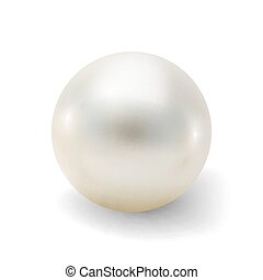 Pearl realistic isolated on white background. Spherical...