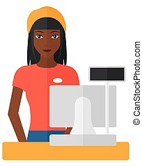 Saleslady standing at checkout - A saleslady standing at...