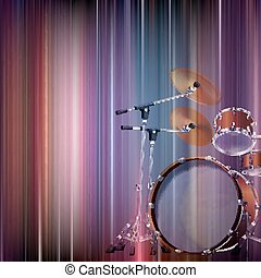 abstract grunge background with drum kit - abstract blue...