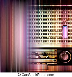 abstract grunge background with retro radio