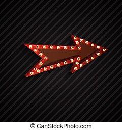 Arrow sign with light bulbs - Illustration of Arrow sign...
