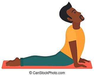 Man practicing yoga. - An african-american man practicing...