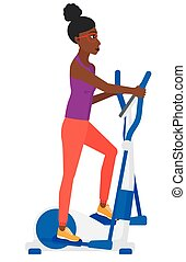 Woman making exercises. - An african-american woman...