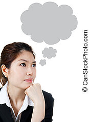 Thought Bubble - Asian female having a Thought Bubble,...