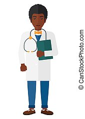 Doctor with stethoscope and file - A happy african-american...