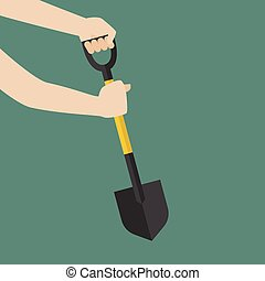 Hand hold shovel prepare to dig Vector Illustration