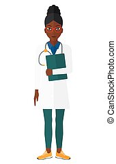 Doctor with stethoscope and file. - An african-american...