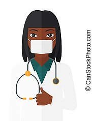 Confident doctor in mask. - An african-american doctor in...