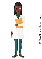Doctor holding file. - An african-american happy doctor...