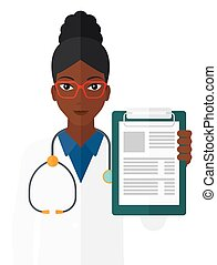 Doctor holding medical notepad - An african-american doctor...