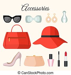 Lady fashion accessories set in flat style.