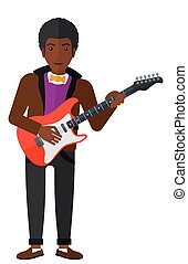 Musician playing electric guitar - An african-american...