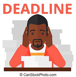 Man having problem with deadline - An african-american...
