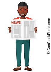 Reporter reading newspaper. - A happy african-american...