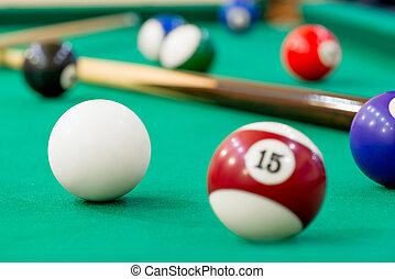 Horizontal Photo of billiard balls on green baize