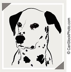 Dog dalmatian portrait logo - Dog dalmatian portrait vector...