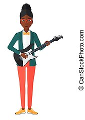 Musician playing electric guitar. - An african-american...
