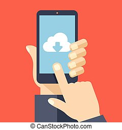 Cloud storage app on smartphone screen User touch screen...