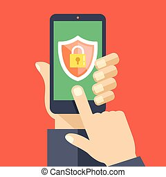Mobile security app on smartphone screen. User touch screen....