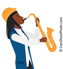 Woman playing saxophone - An african-american musician...