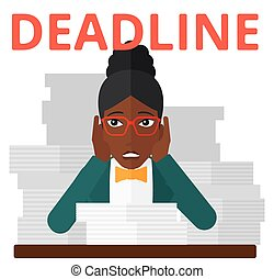 Woman having problem with deadline - An african-american...