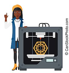 Woman with three D printer - An african-american woman...