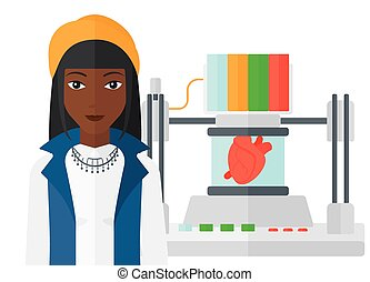 Man with three D printer - An african-american woman...