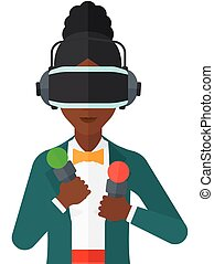 Woman in oculus rift - An african-american woman wearing a...