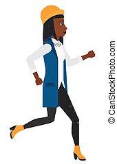 Happy woman jogging.