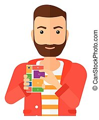 Man with modular phone. - A man with modular phone vector...