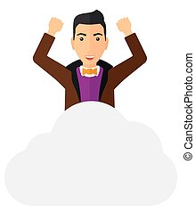 Man sitting on cloud. - A happy man with raised hands...