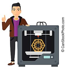 Man with three D printer - A man pointing forefinger up and...