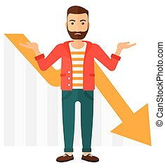 Man with declining chart. - A stressed man with going down...