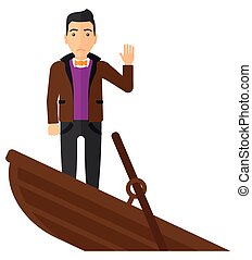 Businessman standing in sinking boat. - A scared businessman...