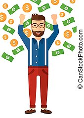 Happy man with flying money - A successful entrepreneur with...