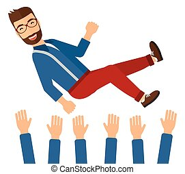 Successful businessman during celebration - A businessman...