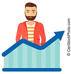 Man with growing chart. - A businessman standing behind...