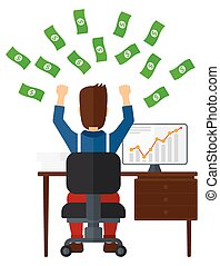 Successful businessman with money. - A man sitting in front...