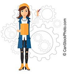 Woman standing on gears background. - A woman standing with...