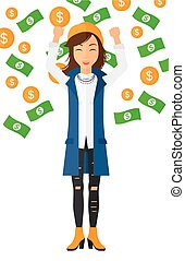 Happy woman with flying money. - A successful entrepreneur...