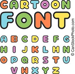 Colorful cartoon font Cute vector alphabet Isolated on white...
