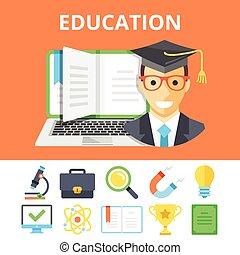 Education flat illustration, icons - Education flat...
