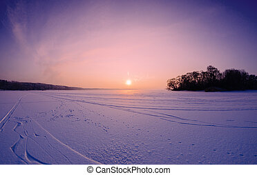 Sunset On The Lake - beautiful amazing sunset on the frozen...