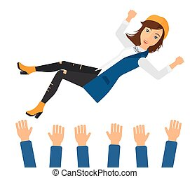 Successful business woman during celebration. - A business...