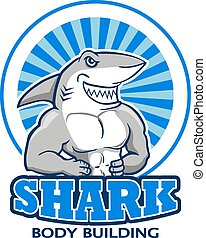 Muscular Shark Logo - A vector illustration of muscular...