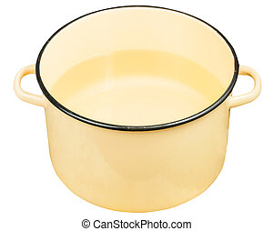 classic yellow enamel saucepot with water isolated on white...