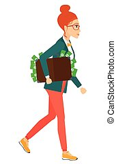 Woman with suitcase full of money - A business woman walking...