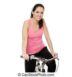 Attractive brunette woman with bike over white background