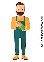 Farmer holding corn - An agriculturist holding a corn cob...