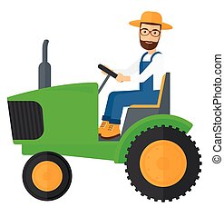 Farmer driving tractor. - A hipster farmer with the beard...